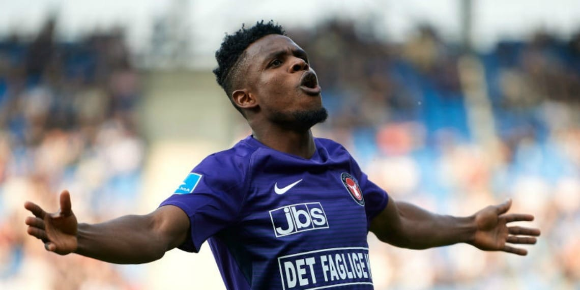Frank Onyeka travels with Midtjylland to face Liverpool