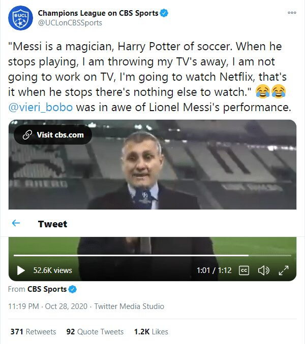 Christian Vieri: Messi is the Harry Potter of football